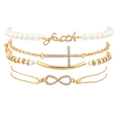 (Lux Accessories Faith Pave Cross Bar Infinity Arm Candy Imitation Pearl Bracelet Set )