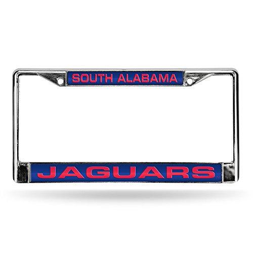 South Alabama Jaguars Laser Cut Inlaid Standard License Plate Frame, Chrome, 6