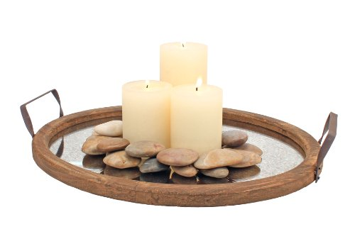 Center Table Decorations (Stonebriar Brown Oval Wood Serving Tray with Metal Handles and Distressed Mirror Base,)