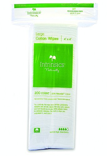 Intrinsics Large Cotton Wipes - 4''x4'', 8-ply 100% Naturelle Cotton, 200 Count by Intrinsics