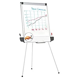 Universal Sturdy Easel Style Dry Erase Board, White/Gray (43031)