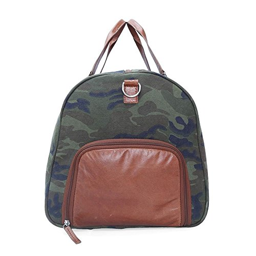 b2413c6164 Bareskin Canvas Leather Green Travel Duffle Gym Bag  Amazon.in  Bags ...