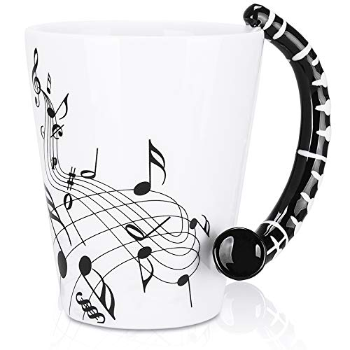LanHong - 13.5 oz Clarinet Mug Musical Notes Design Coffee Cup Ceramic Music Clarinet Cup Gift for Friend