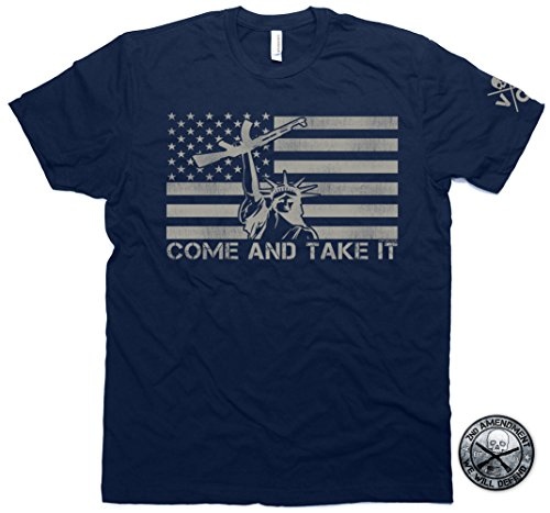 Come & Take It Liberty Gun Flag T-shirt & Second Amendment Sticker Men's Blue (Large) Gun Tee