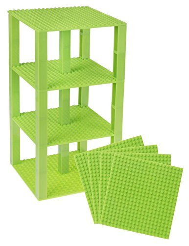 Strictly Briks Classic Baseplates 6 x 6 Brik Tower 100% Compatible with All Major Brands   Building Bricks for Towers and More   4 Neon Green Stackable Base Plates & 30 Stackers