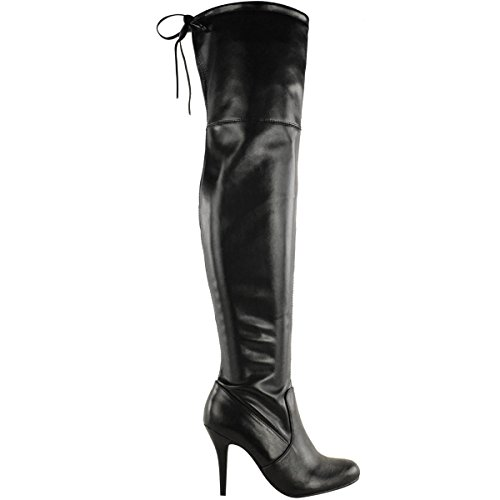 Fashion Thirsty Womens Over The Knee Thigh High Stiletto Heel Boots Stretch Calf Wide Leg Size 9