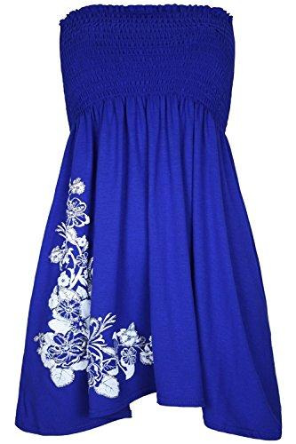 Fashion Womens Size Stampato Side Fascia Canottiera 4 Top Ladies Senza A Abito Plus 8 Floral Spalline blu 22 Less R Cascante srdxQoCthB