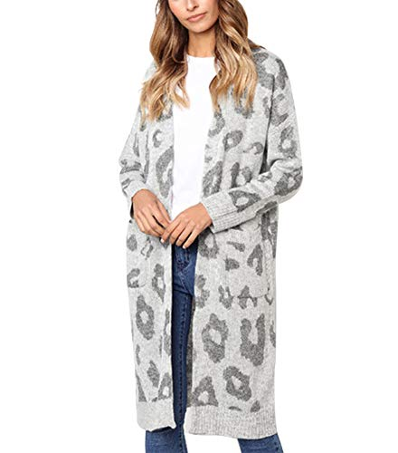 Uni Clau Women's Long Sleeve Open Front Leopard Print Knit Long Cardigan Winter Sweaters Coat Outwear with Pockets Grey ()