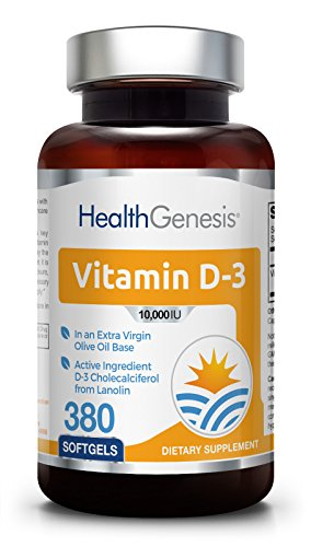 Vitamin D3 10000 IU 380 Softgels - High-Potency | Non-GMO | Soy-Free | in Extra Virgin Olive Oil | Strong Bones | Immune Health | Support for K-2 ()