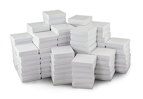 White Jewelry Gift Boxes Cotton Filled #33 (Case of 100)