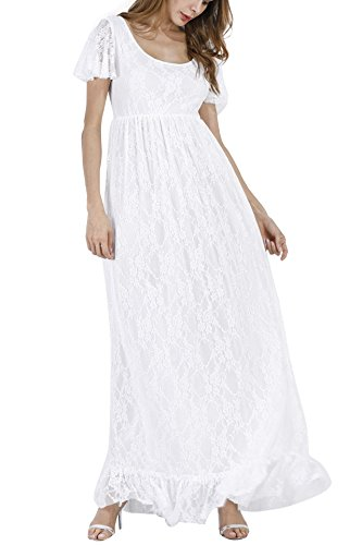 Women's Ruched Floral Lace Maternity Nursing Party Maxi Tank Dress Baby Shower Pregnancy Photography Long Gown Dresses White]()