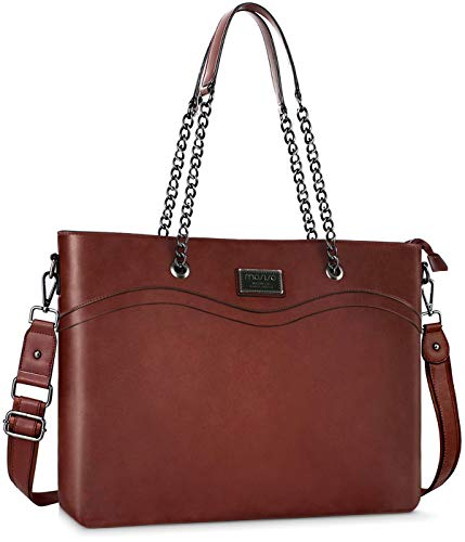 MOSISO Laptop Bag for Women, 15.6 inch Laptop Tote Bag Premium PU Leather Large Capacity Work Business Travel Computer Briefcase Boutique Wristband Shoulder Handbag with Chain Handle, Brown