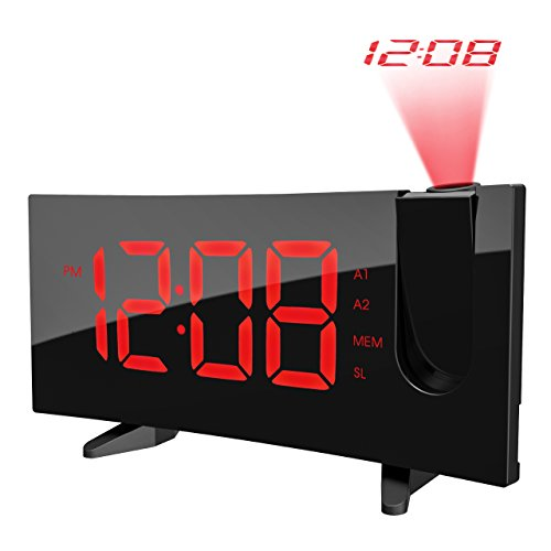 PICTEK Projection Alarm Clock, Alarm Clock with 5-inch Large Curved LED Dimmable Screen, 12/24 Hour Digital Ceiling Clock with FM Radio, Sleep Timer with Dual Alarms and Snooze Function for Kids by PICTEK
