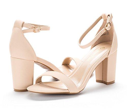 DREAM PAIRS Women's Chunk Nude Nubuck Low Heel Pump Sandals - 11 M US