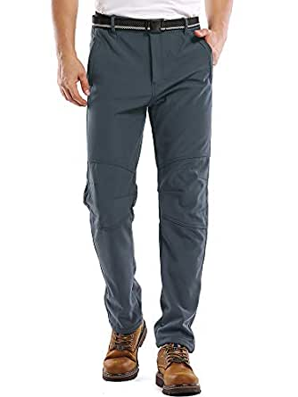 Toomett Men's Snow Fleece-Lined Soft Shell Insulated Waterproof Pants Tactical Winter Hiking,Camping,Travel M5022,Grey 30