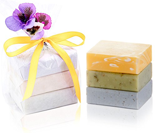 ORGANIC HANDMADE SOAP GIFT SET - Scented w/ 100% Pure Essential Oils - 3 Full Size Bars - Comes Boxed, Gift Wrapped in Cellophane w/ Satin Bow & Spring Floral Embellishment