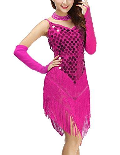 Salsa Mujeres Lentejuelas Vestido Rosa Danza Mangas Fringed Borla Correa Sin Latino Gladiolus URzO7n7