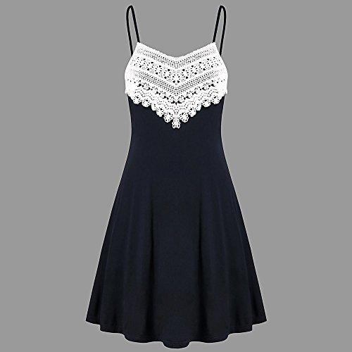 Logobeing Vestido Sin Mangas Camisola Mini Encaje Sin Respaldo Vestido Crochet para Mujer Moda Ropa de Mujer: Amazon.es: Ropa y accesorios
