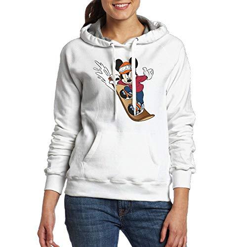 Sakanpo Mickey Mouse Skateboard Women's Hoodie Sweatshirt with Pocket Small ()