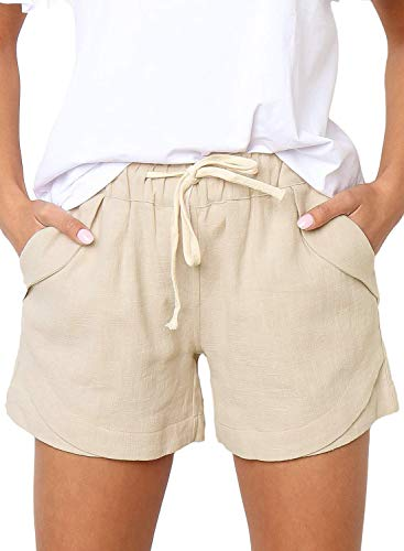 LOSRLY Women Plus Size Cotton Drawstring Elastic Waist Casual Comfy Solid Linen Maternity Shorts with Pockets Beige XXL Drawstring Two Pocket Shorts