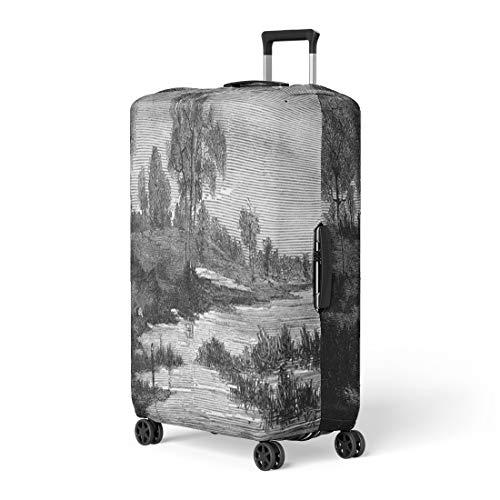Semtomn Luggage Cover Landscapes By Fritz Van De Kerchove Vintage Engraved Magasin Travel Suitcase Cover Protector Baggage Case Fits 26-28 - 1876 Engraving Antique