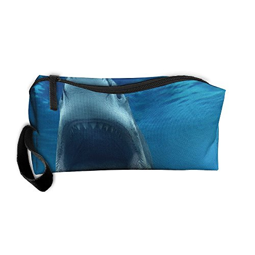 Portable Outdoor Cosmetic Toiletry Clutch Bag Shark Attack Underwater Logo Storage Pouch Pencil Case -