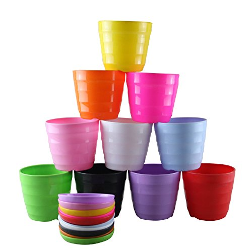 Truedays Set of 10 Multicolored Resin Circle Flower Plant Pots / Planters with Saucer Pallet,All