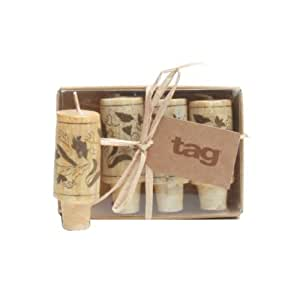 "Tag 710384 Wine Cork Candles (Set of 4), 2.88 x 1.13"", Natural"