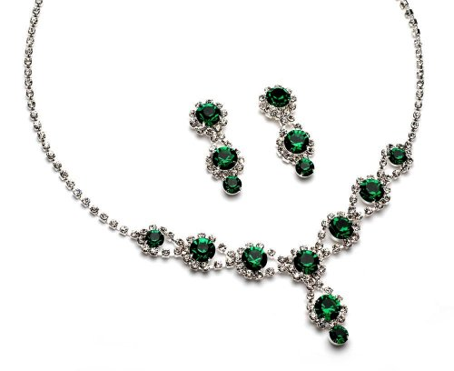 USABride Christmas Rhinestone Jewelry Set Dark Green Crystal Silver Plated Necklace and Earrings 503-GR