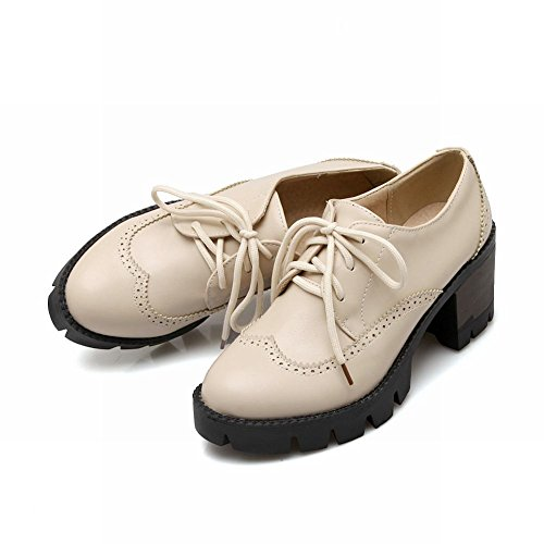 Carolbar Womens Lace-up Retro Vintage Fashion Platform Chunky Mid Heel Oxford Scarpe Beige