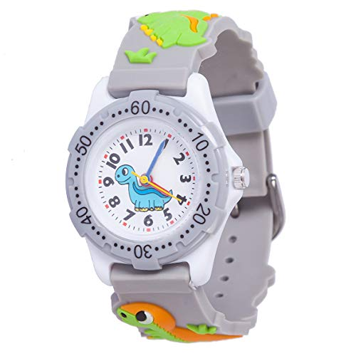 Kids Watch, 3D Cute Cartoon Waterproof Silicone Watch for Girl and Boy,Children Toddler Wrist Watches(Gray -