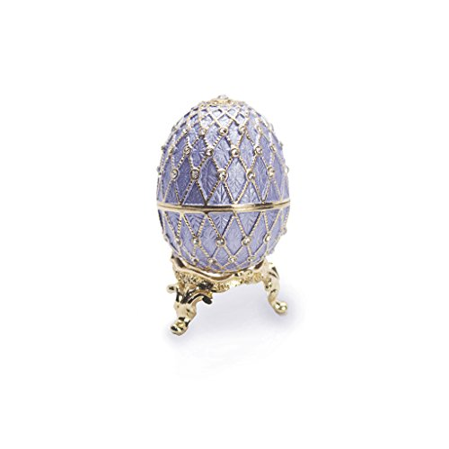 Light Blue/Lavender Faberge Style Egg Figurine with Ring Insert - Swarovski Crystal, Limited Edition Collectible (Crystal Ring Box)