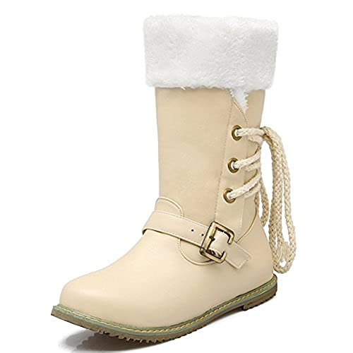 Women's Warm Lace Up Buckled Fur Lined Flat Snow Boots Mid Calf Winter Booties