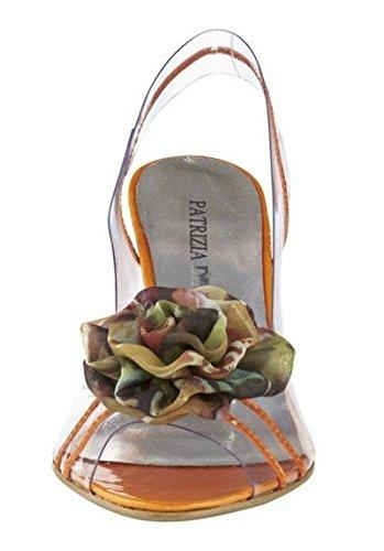 Sandalias Mujer con Flor de tela de Patrizia Dini Naranja