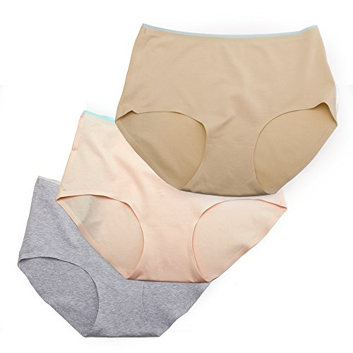 Sujisi Women's 3 Pack Seamless Core Cotton Brief Panty Elastic Heathy Underwear,Fit US 2XL-3XL-4XL,9-10-11