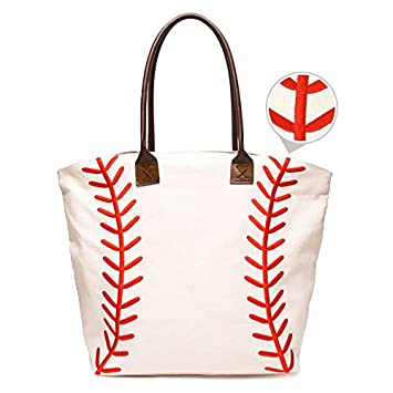 4e02ea8504 Image Unavailable. Image not available for. Color  Embroidered Baseball  Canvas Tote Bag Handbag Large Oversize ...