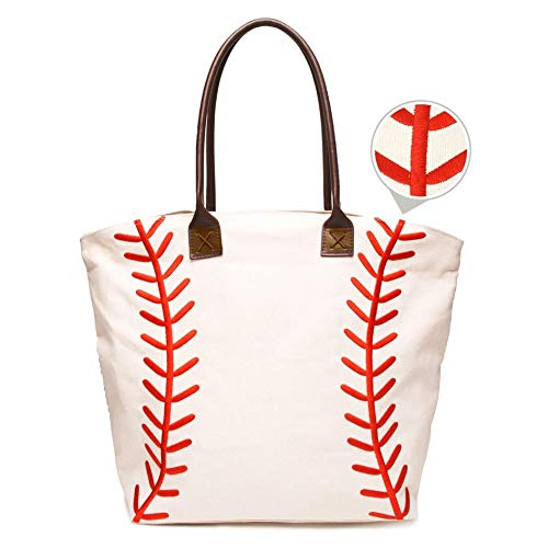 - Embroidered Baseball Canvas Tote Bag Handbag Large Oversize Sports 20 x 17 Inches