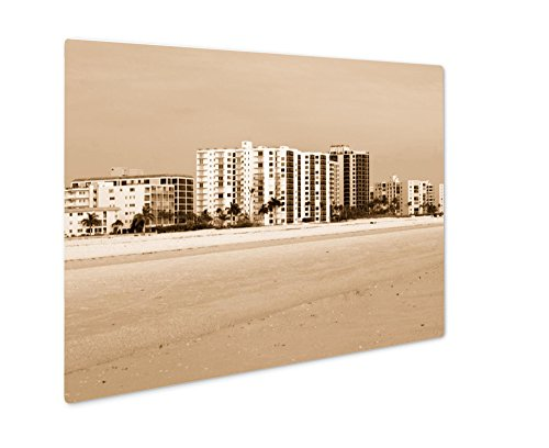 Ashley Giclee Vacation Rentals in Florida, Wall Art Photo Print On Metal Panel, Sepia, 16x20, Floating Frame, AG6142360