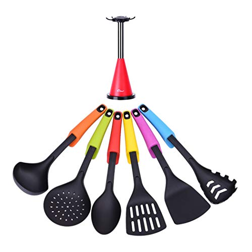 (Tomotime 7 Piece Kitchen Utensil Set - Non-Stick Nylon Cooking Utensils, Nylon Kitchen Set with Holder Stand)