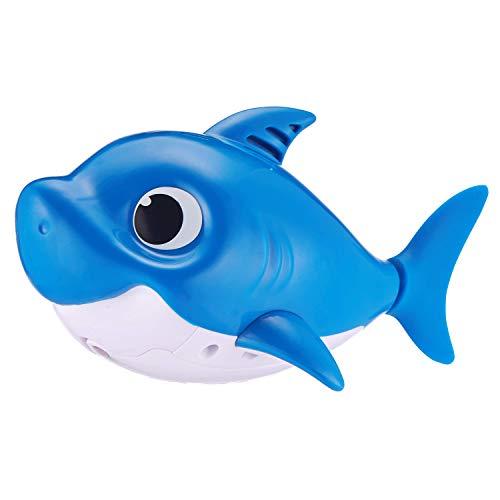 417M63UClwL - Robo Alive Junior Baby Shark Battery-Powered Sing and Swim Bath Toy by ZURU - Daddy Shark (Blue)