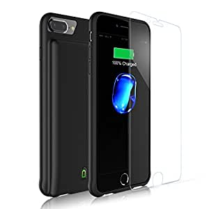 iPhone 8 Plus/7 Plus/6S Plus/6 Plus Battery Case, Rechargeable External 7000mAh Charging Case Charge, Audio & DATA Transfer LED Indicator Extended iPhone Charger Case Juice Pack 5.5 inch - Black