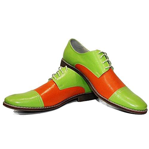 PeppeShoes Modello Gleeo - Handgemachtes Italienisch Leder Herren Grün Oxfords Abendschuhe Schnürhalbschuhe - Rindsleder Lackleder - Schnüren