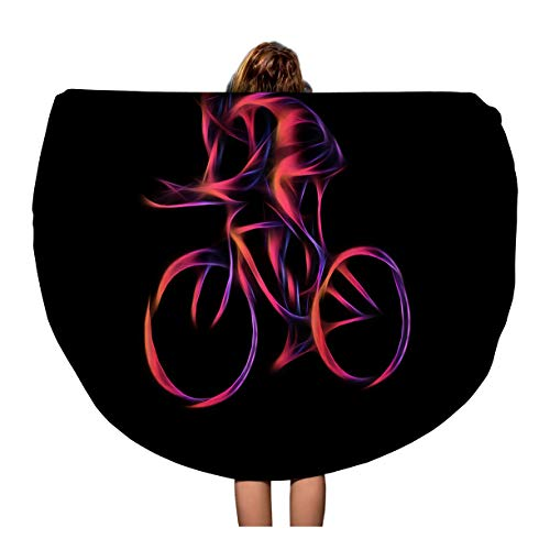 - Semtomn 60 Inches Round Beach Towel Blanket Activism Cyclist in Bike Race Color Adrenaline Athlete Bicycle Travel Circle Circular Towels Mat Tapestry Beach Throw