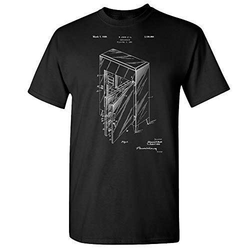 Refrigerator T-Shirt, Ice Box, Fridge Blueprint, Antique Freezer, Refrigeration Unit, Kitchen Appliance, Culinary Gifts Black (Large)