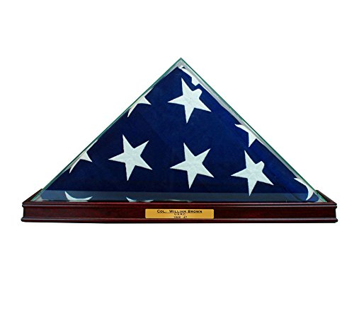 Perfect Cases All Glass Flag Display Case for 9.5' X 5' Flag with Engraving (Cherry)