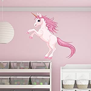 Style & Apply Pretty Pink Unicorn Wall Decal by Wall Sticker, Vinyl Wall Art, Home Decor, Wall Mural – SD3055