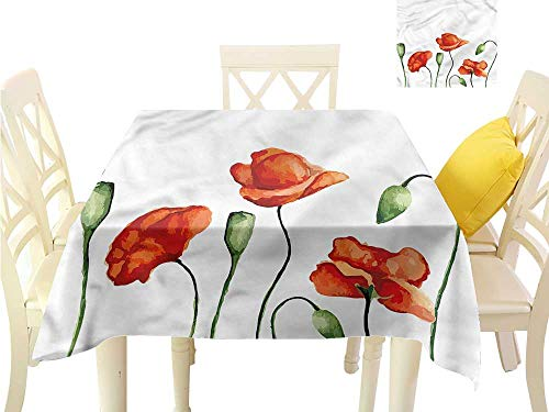 WilliamsDecor Picnic Cloth Flower,Watercolor Poppy Meadow Table Cover W 70