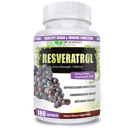 Extra Strength Resveratrol 1200mg – 180 Veggie Capsules – 3 Months Supply | Antioxidant Supplement | Natural Trans-Resveratrol Pills | for Anti-Aging, Heart Health, Immune System & Brain Function