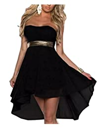 Relaxlama Women's Clubwear Strapless Chiffon Asymmetrical Herm Dresses