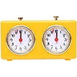 BETTERLINE Retro Analog Chess Clock Timer - Wind-Up Mechanical Chess Clock with Large Easy-to-Read Dials, No Battery Needed (Yellow)